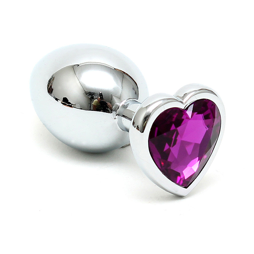 Silver Butt Plug with Heart Shape Crystal