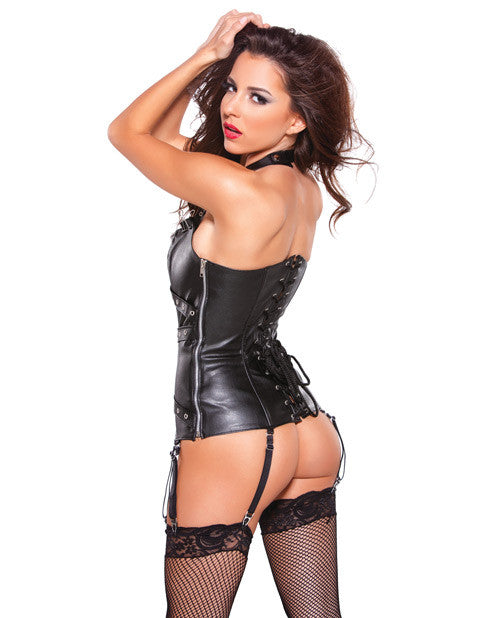 Faux Leather Halter Corset with silver detail
