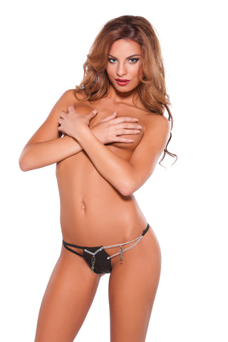 Xoxo Faux Leather & Chain G-STRING
