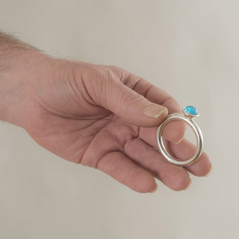 Silver cock ring with jewel