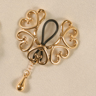 Non-piercing gold wreath with pendant nipple rings