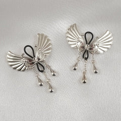 Women's Non-Piercing Silver Wings of Desire Nipple Jewelry