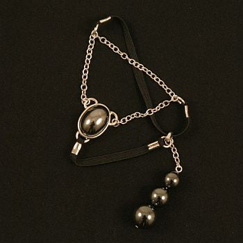 Egyptian Jewel chain cock ring in Silver with Hematite pendant