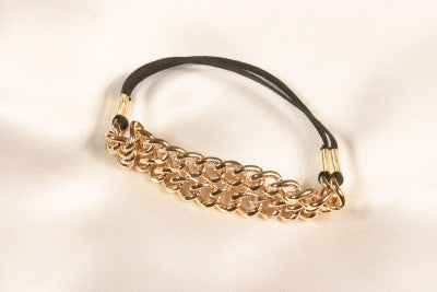 Men's double chain cock ring elastic band in Gold