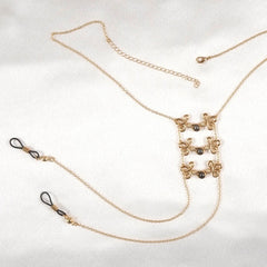 Women's Brandebourgs Knot Neck Chain with Non-Piercing Nipple Rings in Gold