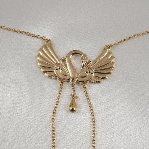Swan Neck Chain with Non-Piercing Nipple Rings in Gold