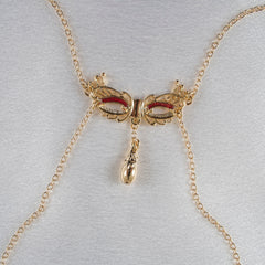 Love Mask Of Venice:  Neck Breast Chain & Non-Piercing Nipple Rings - Gold