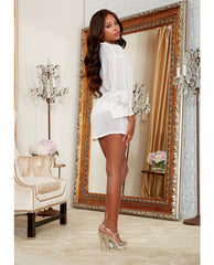 Chiffon & Stretch Lace Short Length Kimono Robe & Cheeky Panty
