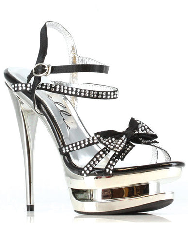 "Ellie Shoes Tess 6"" Rhinestone Strap Heel with bow"