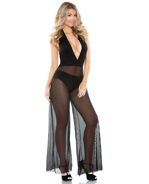 Romp Halter Tie Jumpsuit with sheer wide leg pant