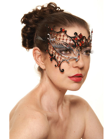 Kayso Laser Cut Half Mask With Red Rhinestones