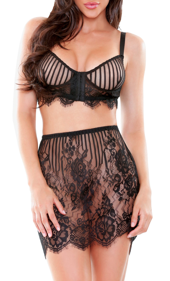 Trisha Lace Bustier & Skirt Set