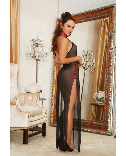 2 pc Mesh Halter High Slit Gown