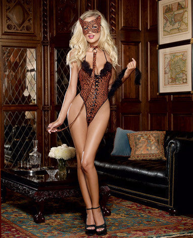 Sexy feline on the loose Teddy lingerie