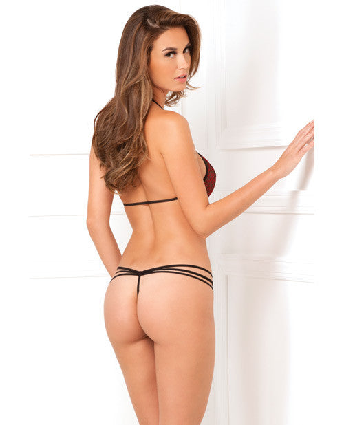 Rene Rofe Strappy Lace Teddy Black/Red S/M