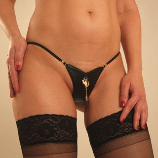 Women's Leather G-String with Cat and Hematite Pendant in Gold