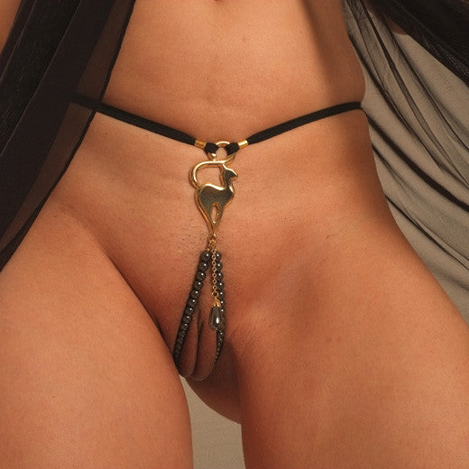 Women's Gold Cat G-String with Hematite Dangling Jewel by Sylvie Monthule