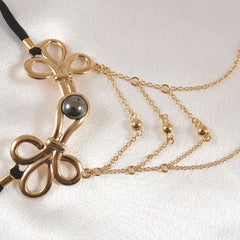 Women's Brandebourgs Knot with Chains G-String in Gold