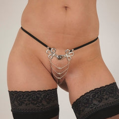 Silver Women's Brandebourgs Knot with Chains G-String