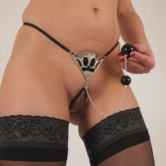 Women's Silver Fan G-String with Dual Insertable Orbs