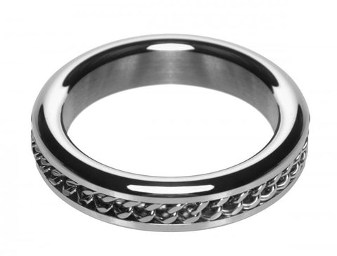 Metal Cock Ring with Chain Inlay