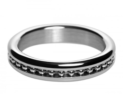 Metal Cock Ring with Ball Chain Inlay