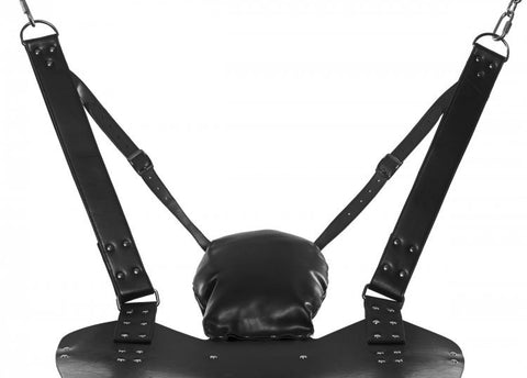 Leather Bondage Swing with Stirrups and Pillow