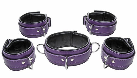 Purple & Black Leather Bondage Set