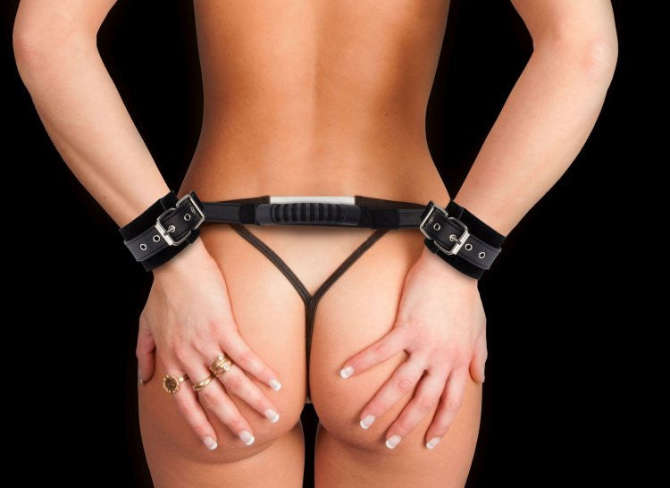 Ouch! Leather Adjustable Handcuffs with Handle