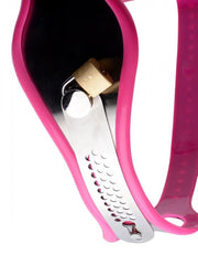 Pink Silicone / Stainless Steel Adjustable Female Chastity Belt