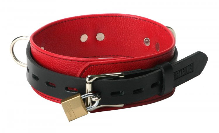 Black and Red Leather Locking Wrist / Ankle  Cuffs & Collar Set