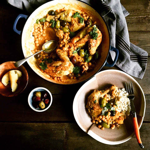 Moroccan lemon chicken with chickpeas and olives