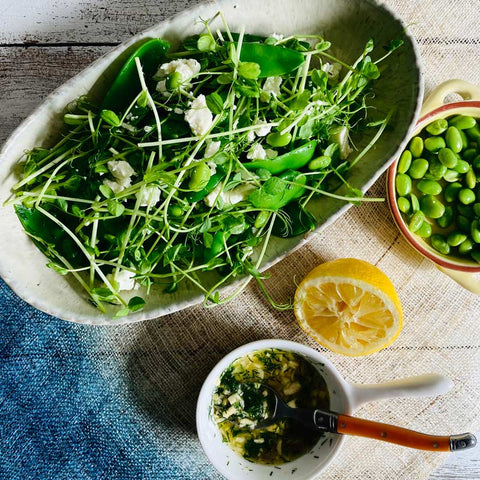 Pea sprout with snow pea salad