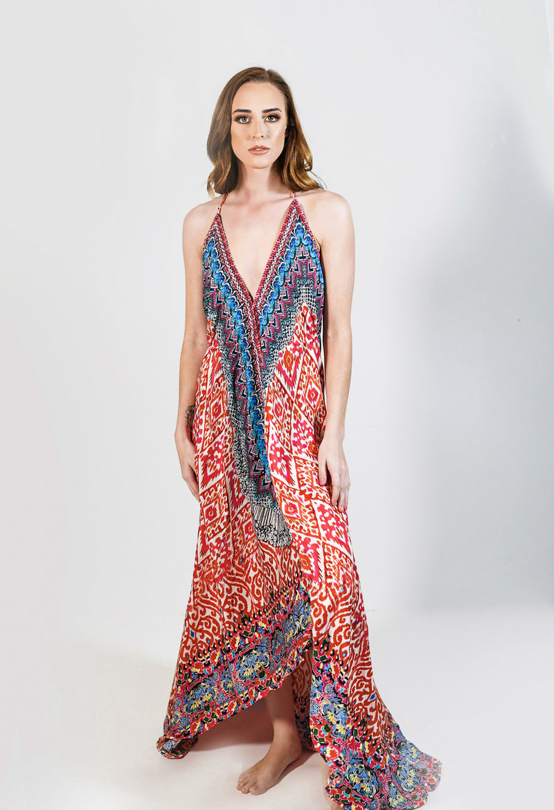 Diva Backless Halter Maxi Dress