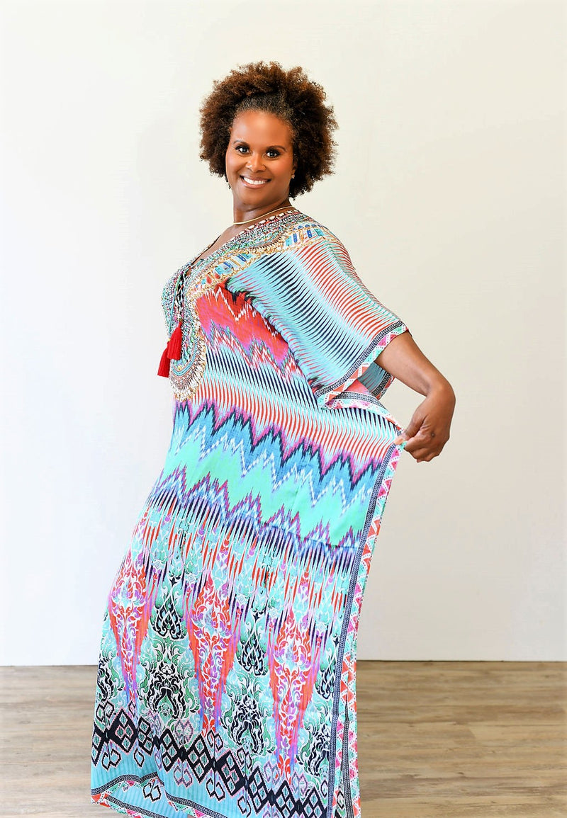 Ikat Pattern Multi Color Kaftan - MaroModa