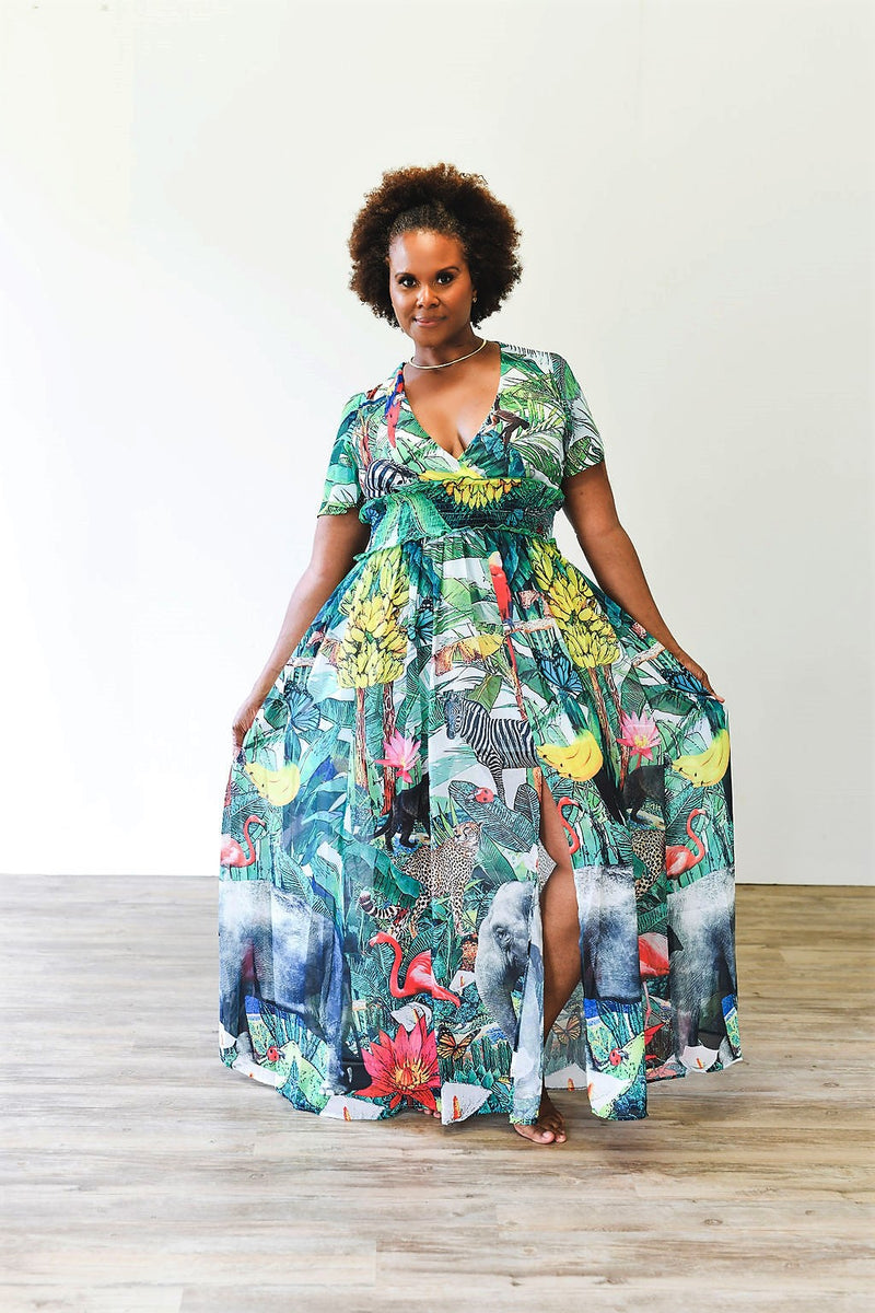 Green Safari Print Maxi Dress - MaroModa