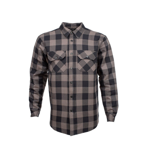 RESURGENCE GEAR PROTECTIVE MOTORCYCLE RIDING SHIRT JACKET IN BLACK AND GREY CHECK