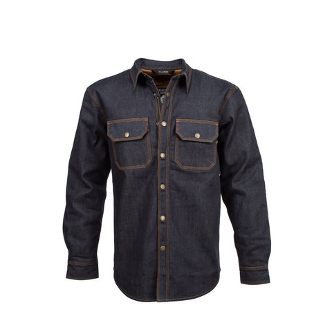 RESURGENCE GEAR PROTECTIVE MOTORCYCLE RIDING SHIRT JACKET IN RAW SELVEDGE DENIM