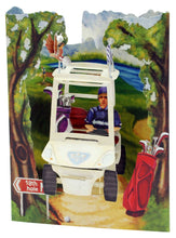 Lade das Bild in den Galerie-Viewer, Grusskarte 3D Swing Card - Golf Buggy - Oceanshore.ch