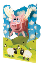 Lade das Bild in den Galerie-Viewer, Grusskarte 3D Swing Card - Pigs Might Fly - Oceanshore.ch