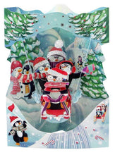 Lade das Bild in den Galerie-Viewer, Grusskarte 3D Swing Card - Sledging Penguins - Oceanshore.ch