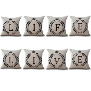 Crown Letter Printed Cotton Cushion