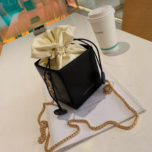 Mini Drawstring Bucket Flap Handbag