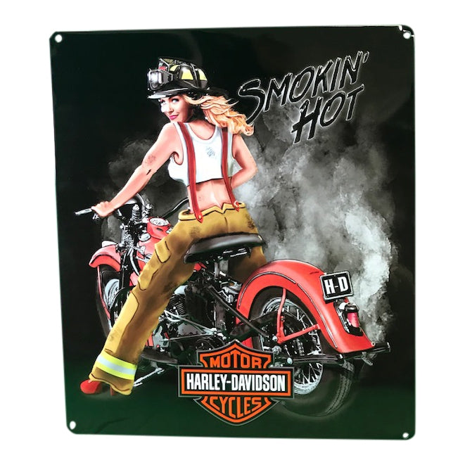 Harley-Davidson® Smokin' Hot Babe Firefighter Tin Sign