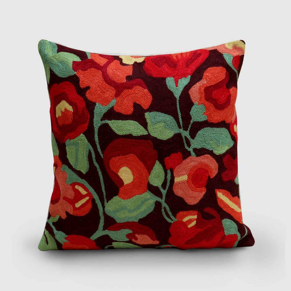 Nargis Hand Embroidered Woollen Chainstitch Cushion Cover Rust - Zaina by CtoK