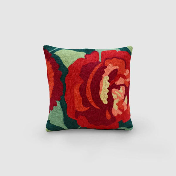 Rose Hand Embroidered Woollen Chainstitch Cushion Cover Green - Zaina by CtoK