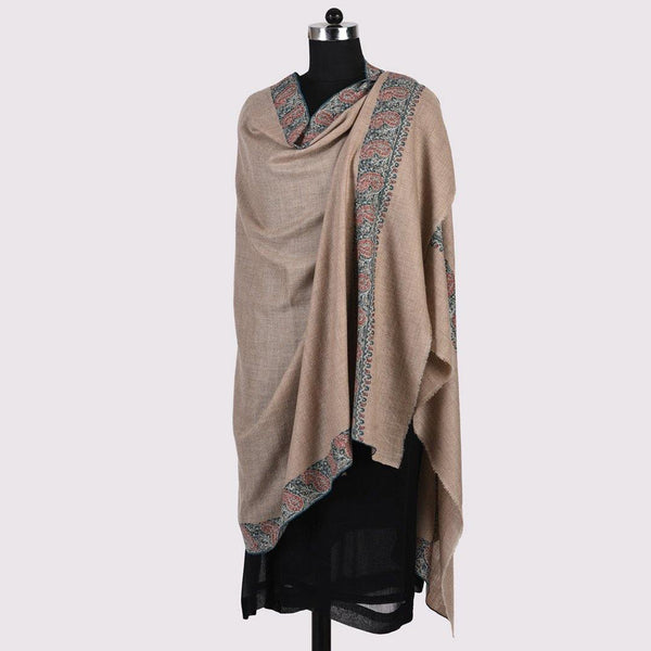 Paisley Phool - Sozni Embroidered Handwoven Pashmina Shawl Natural - Zaina by CtoK