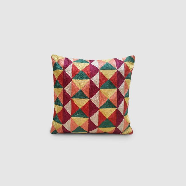 Tangram - Chain Stitch Embroidered Cushion Cover Maroon