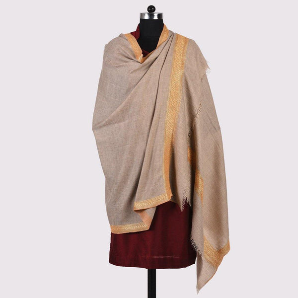 Phool - Natural Colour Handwoven Pashmina Zari Embroidered Shawl - Zaina by CtoK