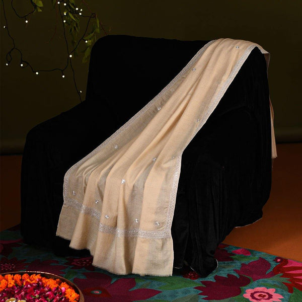 Phool - Zari Embroidered Handwoven Pashmina Shawl Cream - Zaina by CtoK